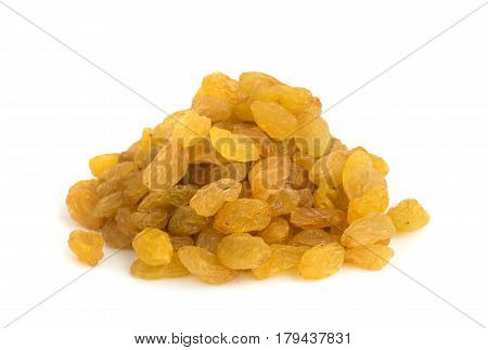 Heap Of Yellow Sultanas Raisins On White Background