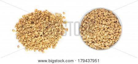 Heap Of Puffed Wheat Snack In White Round Bowl Isolated