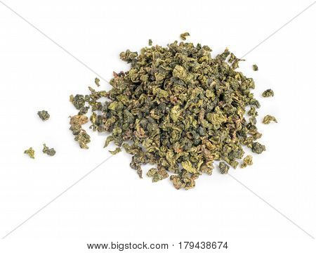 Dry Green Tea Leaves On White Background