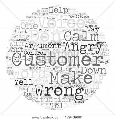 Top Things Not to Do With Angry Customers text background word cloud concept