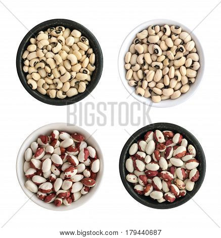 Dry White And Pinto Beans In Round Bowls Isolated