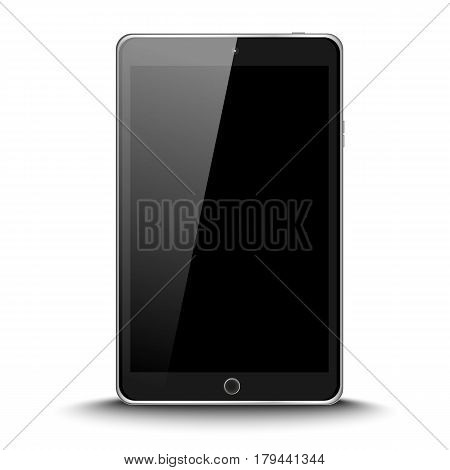Black Modern Realistic Mini Tablet Pad With Black Screen On White Background. Vector Illustration Ep