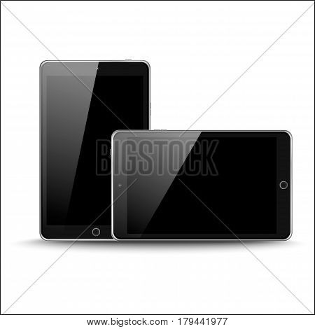 Vector Illustration Of Black Modern Realistic Mini Tablet Pc Pad With Black Screen On White Backgrou