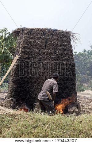Villager Making Mud Bricks, Uganda, Africa
