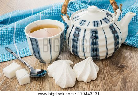 Tea In Bowl, Striped Teapot, Meringue, Lumpy Sugar And Teaspoon