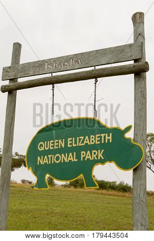 Ishasha District, Queen Elizabeth National Park, Uganda Sign