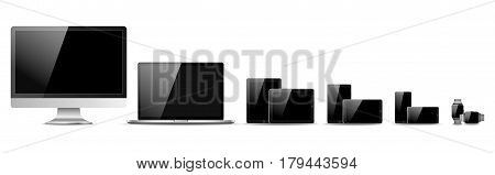Set Of Realistic Computer Monitor, Laptop, Tablet And Mobile Phone With Empty Screen. Various Modern