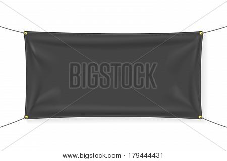 Black textile banner with folds. Blank hanging fabric template. Graphic design elements for advertising, web site, flyer, poster, sale announcement, election slogan. Empty mockup. Vector illustration