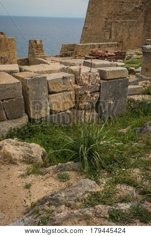 Ruins Of Lindos Castle On Rhodes Island In Greece