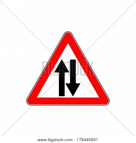 Road Sign Warning Two Way Traffic on White Background