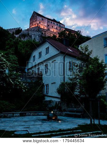 Burghausen,Germany-May 31,2015: View of Burghausen castle early in the evening