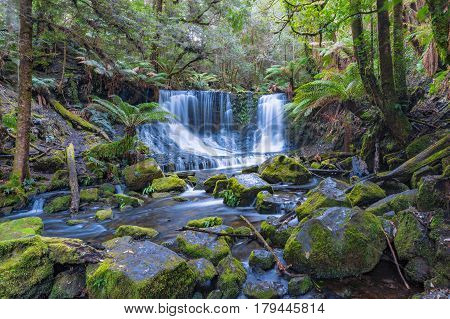 Waterfall In Tropical Rainforest. Tasmania
