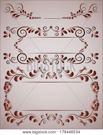 Ornate frames with floral elements. Design monograms, invitations, frames, menus, and shortcuts. Graphic website design, cafes, boutiques, hotels, wedding invitations. Ornate frame.