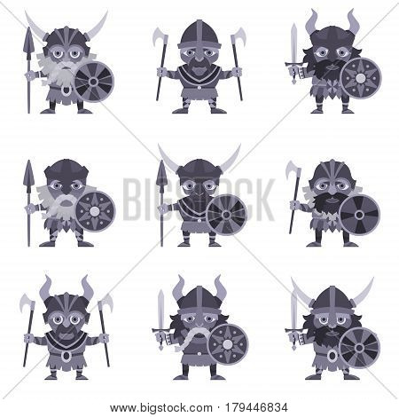Set of Vikings. Vector illustration of warriors with ax sword lance and armor. A medieval man in a costume with weapon and shield in hand. Isolated characters on a white background in a flat style.