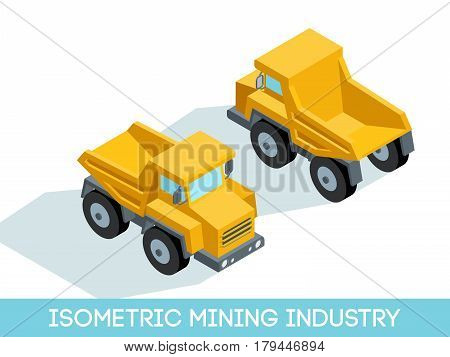 Isometric 3D mining industry icons set 4 image of mining equipment and vehicles isolated on a light background vector illustration.