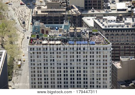 New York City USA - May 03 2015: restaurant and bar on roof of a building in Manhattan relaxation in spring