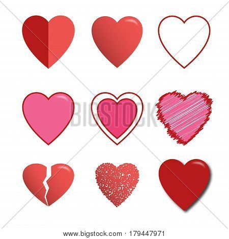 Set of red vector hearts icons. 9 hearts