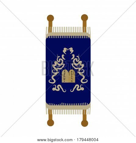 Torah icon, flat, cartoon style. Scroll Isolated on white background. Vector illustration, clip-art