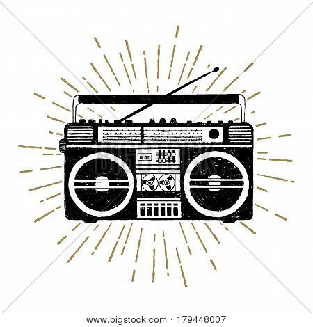 Hand drawn 90s themed badge with boombox player vector illustration.