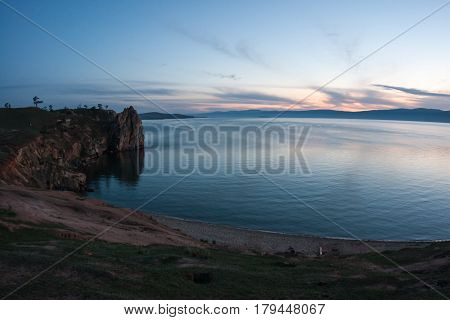 Sunset on Olkhon island of Baikal lake, Russia