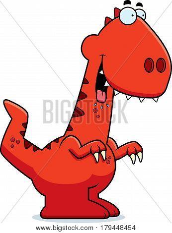 Hungry Cartoon Velociraptor