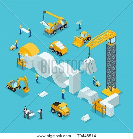 Isometric 3D Building of business ideas brand society. Working people in the construction work. The development plan of the invention. Building Isometric People.
