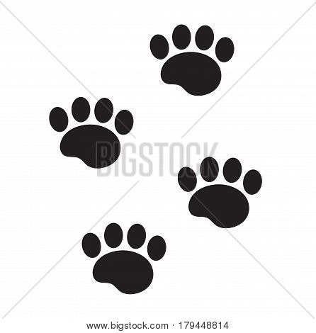 Foot marks of an animal icon, flat, cartoon style. Traces of dog paw isolated on white background. Vector illustration, clip-art