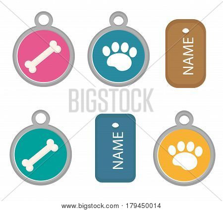 Medallion, dog tag set of icons, flat, cartoon style. Isolated on white background. Vector illustration, clip-art