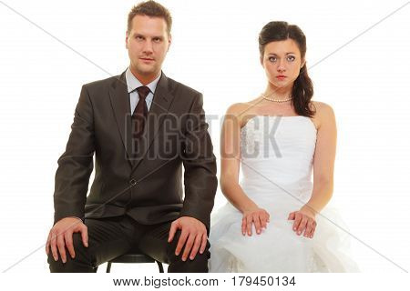 Sad Groom And Bride Couple Waiting For Wedding