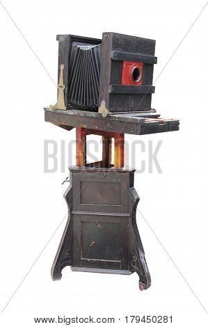 Old vintage wooden camera isolated on white background