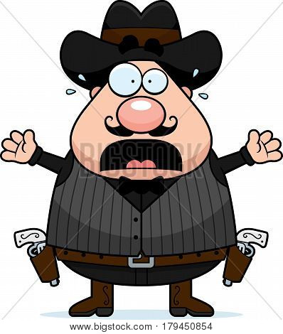 Scared Cartoon Gunfighter