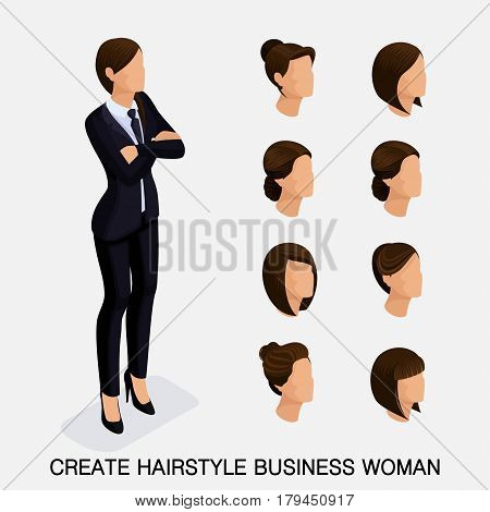 Trendy isometric set 8, women's hairstyles. Young business woman, hairstyle, hair color, isolated. Create an image of the modern business woman. Vector illustration.