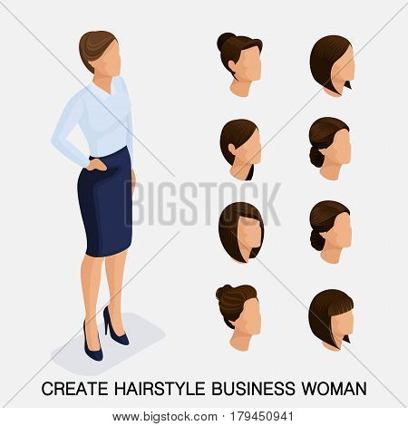 Trendy isometric set 10, women's hairstyles. Young business woman, hairstyle, hair color, isolated. Create an image of the modern business woman. Vector illustration-01.