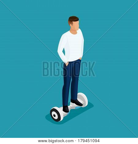 Isometric people, a man playing a game, 3D ride, ride control. GyroScooter on bright background. Vector illustration.