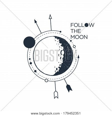 Hand drawn inspirational badge with textured moon vector illustration and