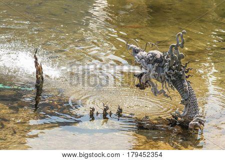 Closeup of naka or serpent statue were sprayed water.