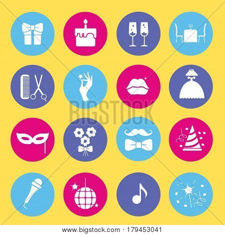 Entertainment and shopping icon set. Vector silhouette illustration
