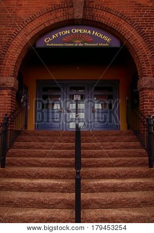 Clayton New York USA. March 29 2017 . Steps to the entrance of the Clayton Opera House in downtown Clayton New York a small village on the shores of the Saint Lawrence River