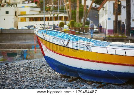 Colorful Fishing Boats On Beach In Camara De Lobos, Madeira