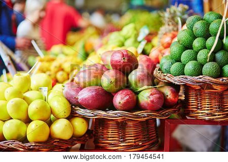 Fresh And Ripe Exotic Fruits On Traditional Farmer Market On Madeira