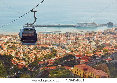 Cable Ropeway Cabin Over Funchal, Madeira Island, Portugal