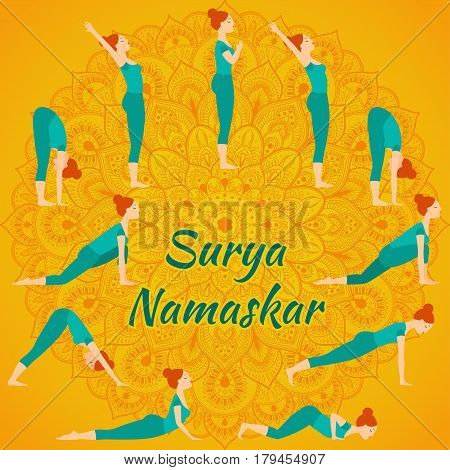 Surya Namaskar yoga complex sun salutation on a background of ethnic mondala