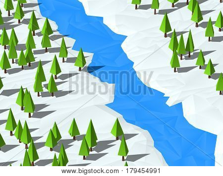 Low poly trees on snow, 3d render