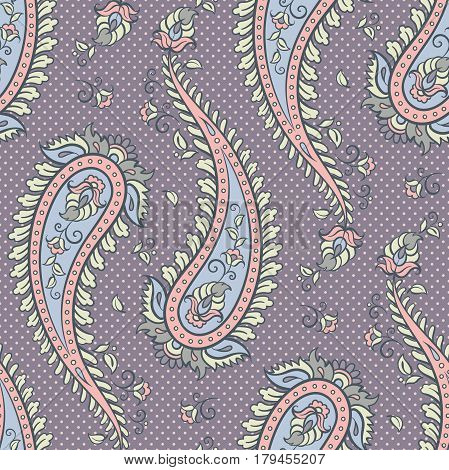 Seamless pattern paisley ornamental vector background design for fabric in soft pastel colors illustration