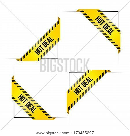 Four corner labels for online shop with words 'Hot Deal'. Colored in black and yellow like danger ribbons. Set of vector tags.