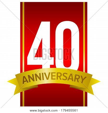 White digits 40 on red background with word 'Anniversary' below. Forty years birthday sign. Vector design element.