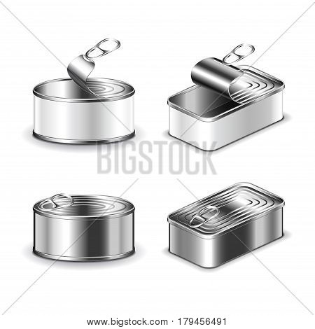 Tin can set isolated on white photo-realistic vector illustration