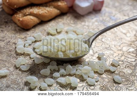 Chios Mastic Tears On Silver Background