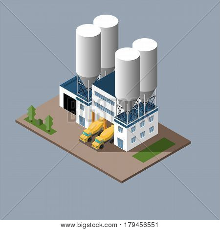 vector illustration of the production of concrete loading concrete mixers concrete transportation. isometric vector illustration
