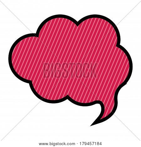 silhouette cloud speech in magenta background with diagonal lines vector illustration